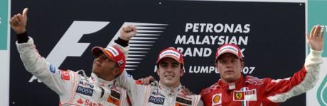 Hamilton, Alonso & Räikkönen, GP Malaysia 2007