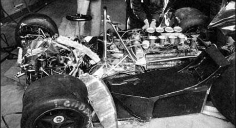 David Purley's LEC after shunt, Silverstone 1977